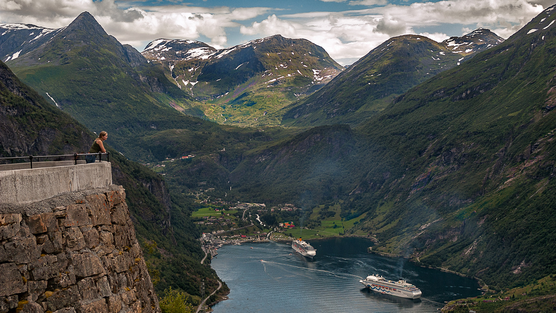 Norway - Unn Cathrin Looking Down at Geiranger Fjord