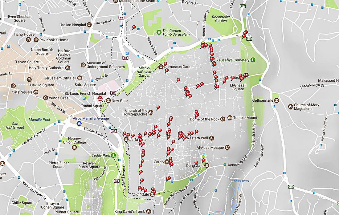 Jerusalem - GPS Pins